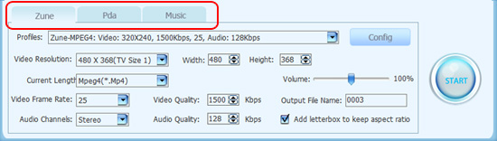 choose video tab or music tab